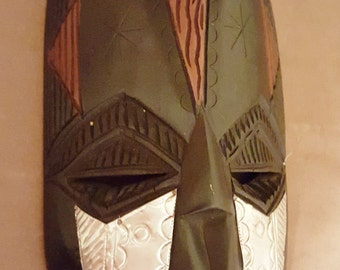 Aluminum and Wood Handcrafted mask from Ghana