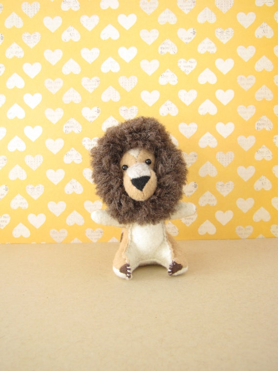 Little Lion Man Hand-sewn Stuffed Animal - Felt softie - plush safari jungle cat, be strong friend gift