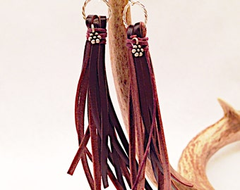 Brown Leather Tassel Earrings