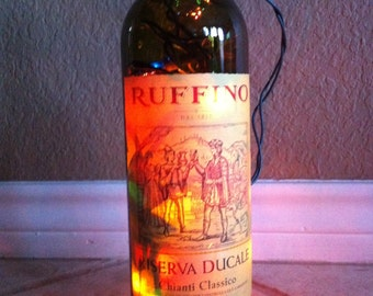Re-purposed wine bottle lights
