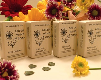 Handmade Soap Set of 4 - Green Wind Soap Moisturizing Bars