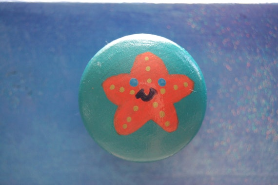 Orange Star Fish Drawer Knob/ Cupboard Handle- Hand Painted - Three Sizes Available 30mm, 40mm, 53mm
