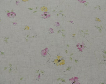 Multicolored Floral Linen Look Fabric by the Yard