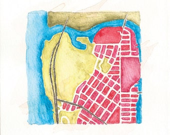Inwood | NYC Street Grid | Hand painted map | 02.33