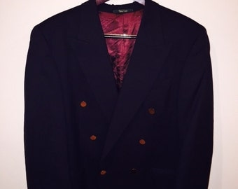 Vintage Navy Mens Double Breasted Sport Coat