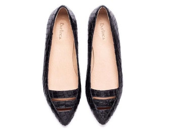 Sale 45% off! Black flats, Black shoes, women's shoes. Evening flat shoes. Women flats, handmade leather shoes. Le Marais model