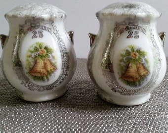 Clearance Vintage 25th Anniversary Enesco Salt & Pepper Shakers~Silver and White Shakers~ Japan~Bells