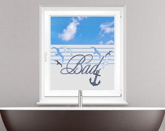 Sichschutzfolie window film color for bathroom saying bad anchor seagulls birds