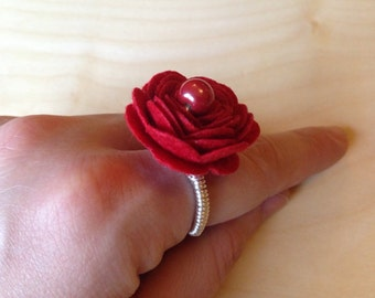 Statement red rose silver ring
