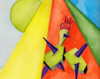 King of cactus, watercolor painting, original art, wall art, good in any room