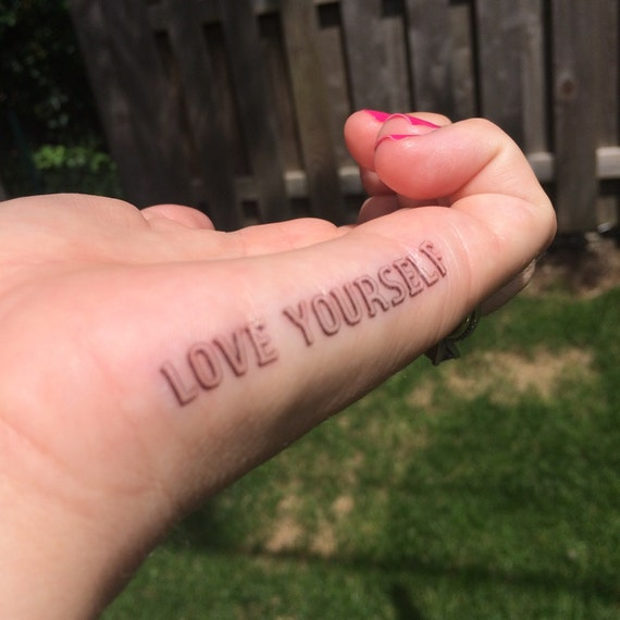 Love yourself tattoo finger tattoo temporary tattoo fake like this item urmus Image collections