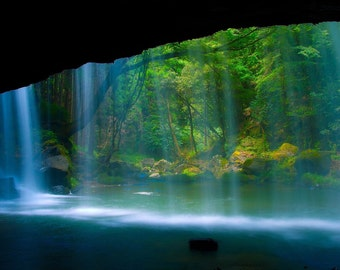 Picture waterfall forest trees screen picture green blue