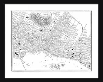Montreal Vintage Map - Montreal - White - Print - Poster