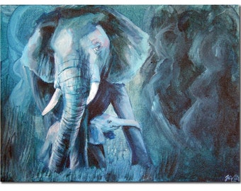 Wild, Loved and Protected - Elephant Mother and Child Acrylic Painting
