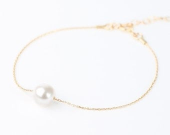 White Gold Pearl Bracelet - Bridesmaid Pearl Bracelet - Floating Pearl - Single Pearl - Floating Pearl - Wedding Jewelry - Bridesmaid Gift