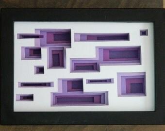 3 Dimensional Paper Sculpture Disorientation Purple