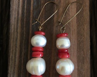 Bamboo Coral and Freshwater Pearl Earrings