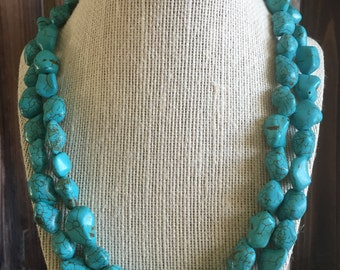 Genuine Turquoise Double-Strand Necklace. Turquoise Necklace. Statement Necklace. Double-Strand Necklace. Turquoise Jewelry. Silver Jewelry.