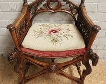 French Gothic Chair Medieval Knights Carved Tigers Antique Walnut #4785
