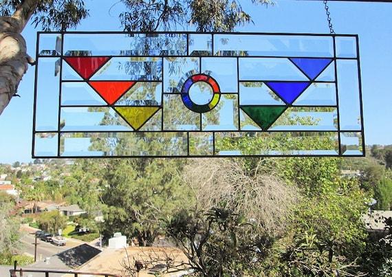 Art deco pride rainbow phoenix stained glasshand for Phoenix glass decorating co