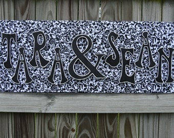 """Custom Wall Art: Black and White Damask Print, Black Letters with White Outline, 12""""x30"""""""