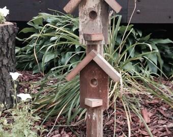 Rustic Birdhouse Garden Stake, Rustic Birdhouse, Garden Art, Barn Wood Birdhouse, Barn Wood Birdhouse Garden Art