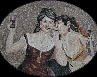 Girls Ladies Gossip Night Drink Handmade Home Decor Marble Mosaic FG851