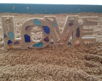 Love art, Beach Art, beach wall art, sand art, love centerpiece, coastal decor, beach decorations, letter art, love letter art, beach home