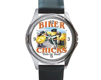Biker Chicks   Round Metal funny Watch