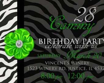 Lime Green Flower and Zebra Girls Tweens Ladies Birthday Party Invitation Digital Download File