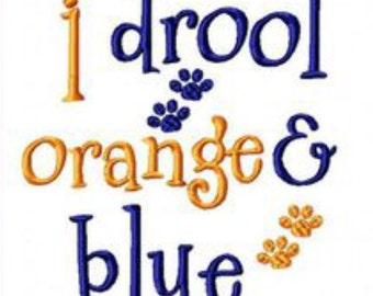 I drool orange and blue embroidery design instant download