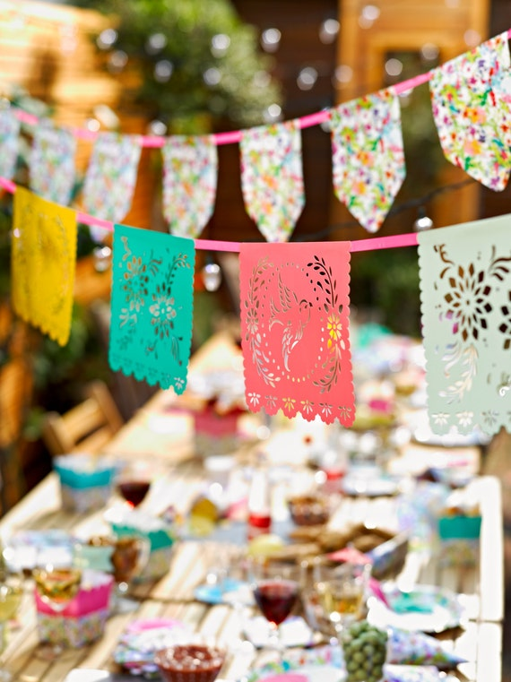 Papel Picado | Mexican Fiesta | Quinceanera Decor | Garden Bunting | Floral Bunting | Garden Parties | Baby Shower Decorations | Girly