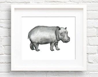 Hippo Art Print - Nursery Art - Wall Decor - Watercolor Painting