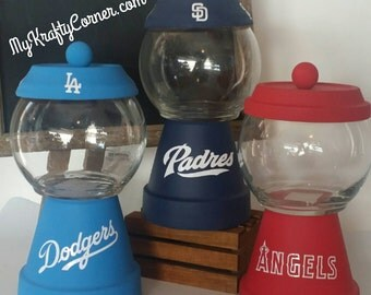 Custom faux gumball machine candy dish. Choose your favorite sports team's