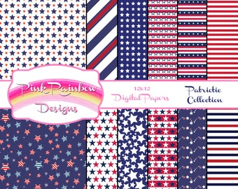 Fourth of July Patriotic Collection of Digital Scrapbook Paper | Independence Day | 4th | stars and stripes | red white and blue