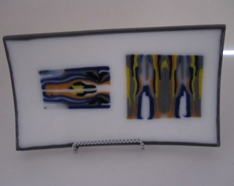 Fused glass pattern bar plate