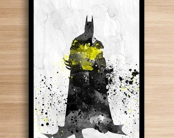 Watercolor Batman Inspired Art, Superhero Art