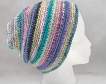 Purple and Blue Crochet Beanie