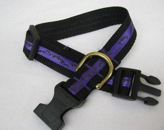 Purple Glitter Bats Dog Collar - MULTIPLE SIZES AVAILABLE