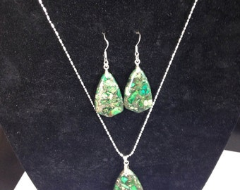 Handcrafted Green Sea Sediment Jasper and Pyrite Pendant and Earrings