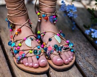 Multicoloured  Tie up Gladiator sandals