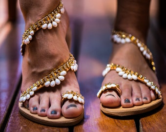 Genuine leather sandal with white opal & transparent crystal motifs