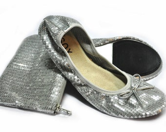 Silver Sequined Foldable Flats Size 9-10