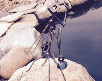 Metal Praying Mantis, yard art, metal sculpture, garden decor