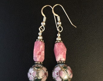Rodochrosite and Cloisonne Earrings