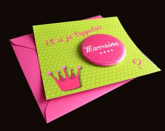 Announcement pregnancy badge - Godfather, godmother, tonton, big brother, big sister...