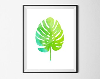 Palm Leave Print, Wall Art, Watercolor, Gallery Wall #27