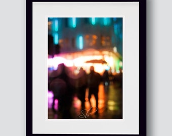 Urban people print, dreamy, turquoise, people walking, blurry effect, fine art photography, wall art, A3, A4