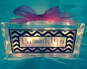 Personalized Glass Block Light With Chevron Pattern