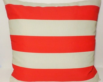 """18"""" x 18"""" or 20"""" x 20"""" Red with White Stripes In/out Doors Decor Fabric with Invisible Zippered Closure Pillow Cover ."""
